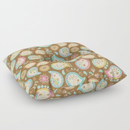 Hedgehog Paisley_Colors and Cocoa Floor Pillow