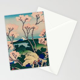 Traditional Classic Japanese Landscape Drawing With Pink Flower Stationery Cards