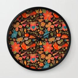 Funny khokhloma pattern Wall Clock