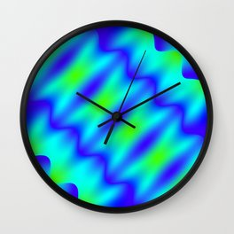 Bright pattern of blurry light blue and green lines and curly patterns. Wall Clock