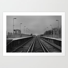 Normans Bay Train Station B&W. Art Print