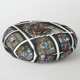 Stained Glass Windows Collage Floor Pillow