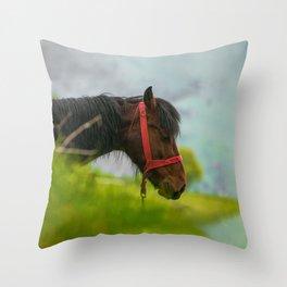 Horse with wild mane Throw Pillow