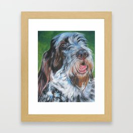 Spinone Italiano dog art portrait from an original painting by L.A.Shepard Framed Art Print