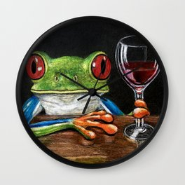 """""""Cabernet"""" - Frogs After Five collection Wall Clock"""