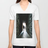 silhouette V-neck T-shirts featuring Silhouette by Kim Ramage