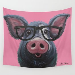 Pig with glasses art, Colorful pig art Wall Tapestry