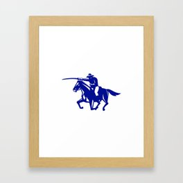 American Cavalry Charging Retro Framed Art Print