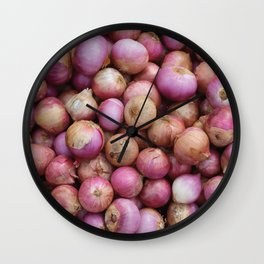 Food Illustration Onions Wall Clock