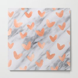 Hearts Rose Gold Marble Metal Print