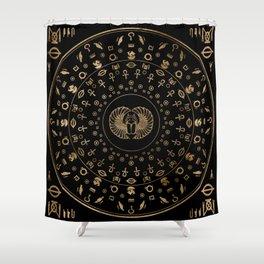 Golden Egyptian Scarab Beetle - in circular pattern Shower Curtain