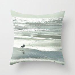 BIRDIE WALKING ON THE BEACH AT SUNSET Throw Pillow