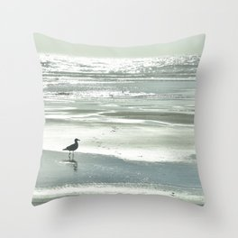 BIRDIE WALKING ON THE BEACH AT SUNSET Throw Pillow