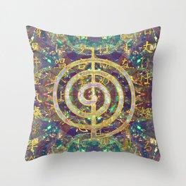 Gold Choku Rei Symbol and Reiki Precepts Throw Pillow