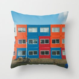 Colorful Container house Amsterdam Throw Pillow