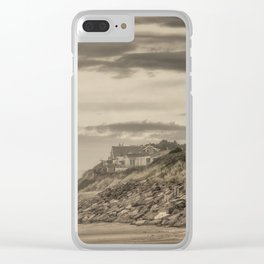Homes Atop Cliffs At Gleneden Toned Clear iPhone Case