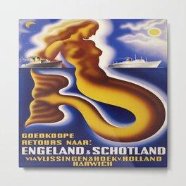 Mermaid Vintage Poster Metal Print