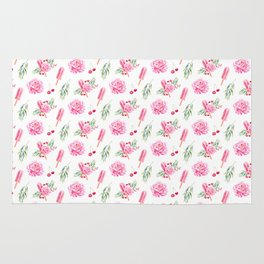 Tropical Chill Rose Pattern Rug