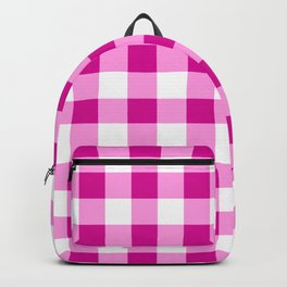 Magenta and White Check Backpack