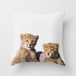Twin cougar art, twin baby jaguar art, puma nursery art, loving animal Throw Pillow