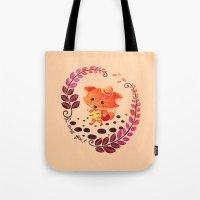 alisa burke Tote Bags featuring Hello Miss Fox!! by haidishabrina
