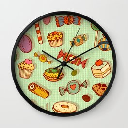 candy and pastries Wall Clock