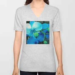 Aqua, Blue and Violet Exotic Orchid Unisex V-Neck