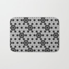 Japanese Asanoha or Star Pattern, Black and White Bath Mat