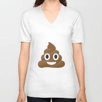 emoji V-neck T-shirts featuring Emoji Poo by Emojis on Mugs, Tshirts, Phone Cases & M