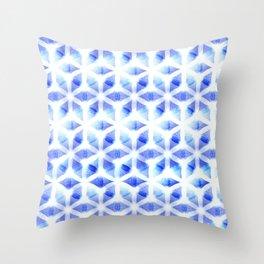 Flower of Life | Blue Light Sacred Geometry Design Pattern Throw Pillow