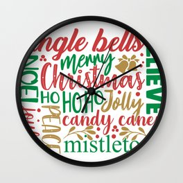 Merry Christmas Word Art Wall Clock