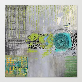 Teal & Lime Round Abstract Art Collage Canvas Print