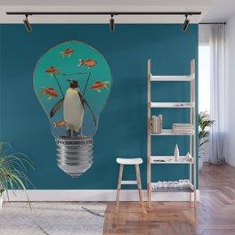 Bulb Penguin goldfishes - Illustration Wall Mural