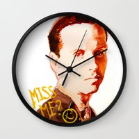 moriarty Wall Clocks featuring Miss me? - Jim Moriarty by Pash Arts