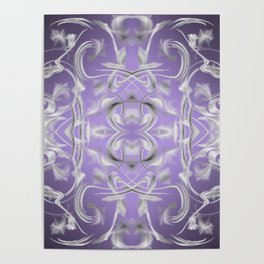 silver in purple Digital pattern with circles and fractals artfully colored design for house Poster