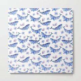 Blue magnolia whale Metal Print