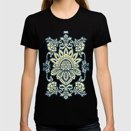 damask in white and blue vintage T-shirt