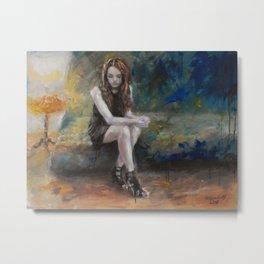 she on sofa Metal Print