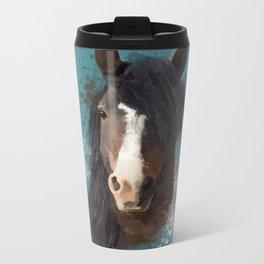 Black Brown Horse Artwork Metal Travel Mug