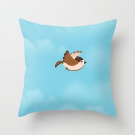 Little Flying Sparrow Throw Pillow