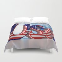 usa Duvet Covers featuring USA by Carlo Toffolo