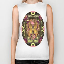 Western Style Swallow Tail Butterfly in pinks and Greenish Black Designs Biker Tank
