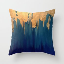 Gold Leaf & Blue Abstract Throw Pillow