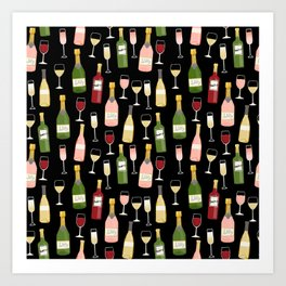 Rose drinks champagne wine bar art food fight apparel and gifts Art Print