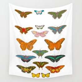 Vintage Scientific Illustration Of Colorful Butterflies Wall Tapestry