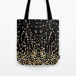 Floating Dots - White and Gold on Black Tote Bag