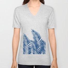 Palm Leaves Dark Blue Unisex V-Neck