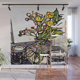 Shadow Flowers Wall Mural