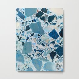 Vintage Blue Terrazzo Tile Metal Print