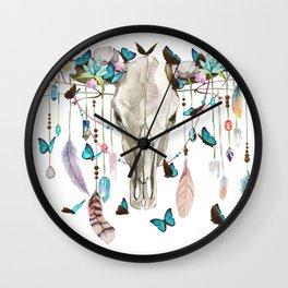 Butterfly Cow Skull Spirit Gazer Wall Clock
